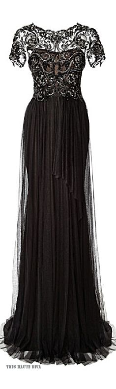 Marchesa Black Embroidered Bodice Gown with Tulle Skirt Resort 2015//If I could find this in white/off-white, this would be my dress.