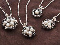 """This nest necklace, discovered by The Grommet, is made with freshwater pearls as """"eggs"""" in a nest."""
