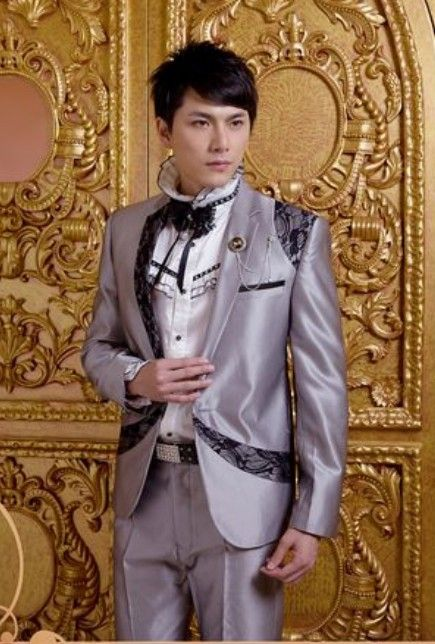 Buy Lace Embellished Lapelled Single Button Groom Suit Grey with cheapest price Clothing-Dropship.com