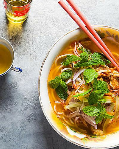 Assam laksa. The base broth is made from fish, tamarind and torch ginger flower, resulting in a lovely, sour, fragrant soup.