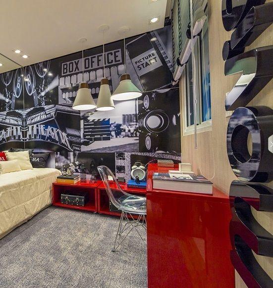 movie / cinema / bedroom / quarto / apartamento decorado / home decor / bohrer arquitetura / interior design