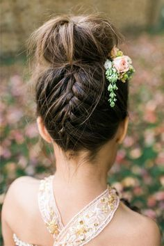 "French braid top knot | Summer Wedding Hair - Our Top 20 Styles via <a href=""/onefabday/"" title=""One Fab Day - Wedding Blog"">@One Fab Day - Wedding Blog</a>"