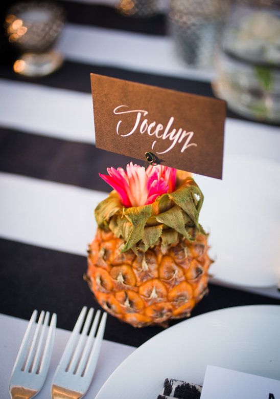 Now isn't this just the cutest little place card holder? Impress all of your guests with a mini pineapple at each of their seats!  Image found on Style Me Pretty
