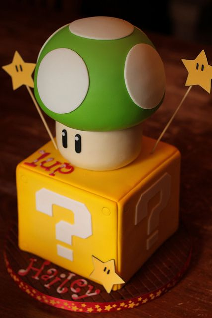 Fun Mario cake! - Just decorate box and container for bottom of mushroom...only top of mushroom is edible