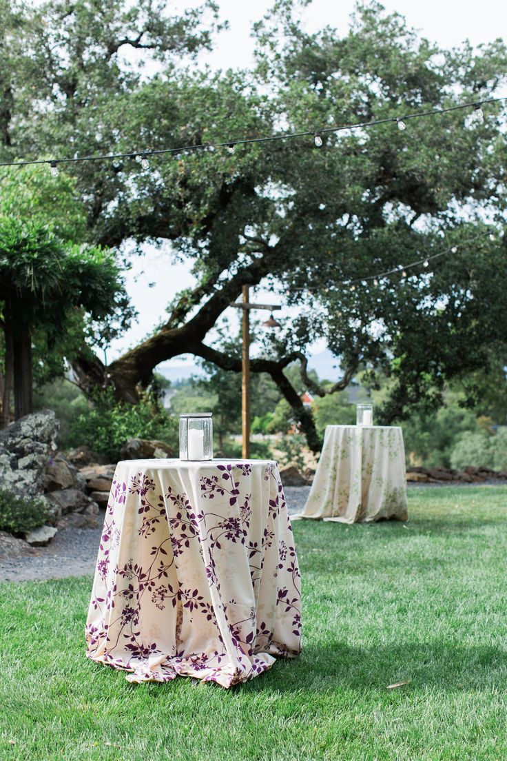 Our Flora linens are perfect for a vineyard cocktail area