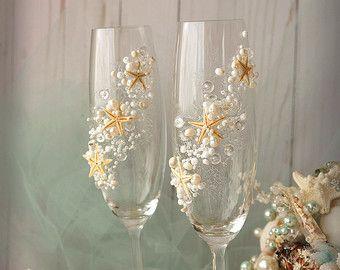 Calici per le nozze champagne Starfish spiaggia nozze