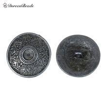DoreenBeads Zink Gebaseerd Legering Metalen Naaien Shank Knoppen Ronde Antieke Zilveren Hart Gesneden Cabochon Instellingen, 10 Stks(China)