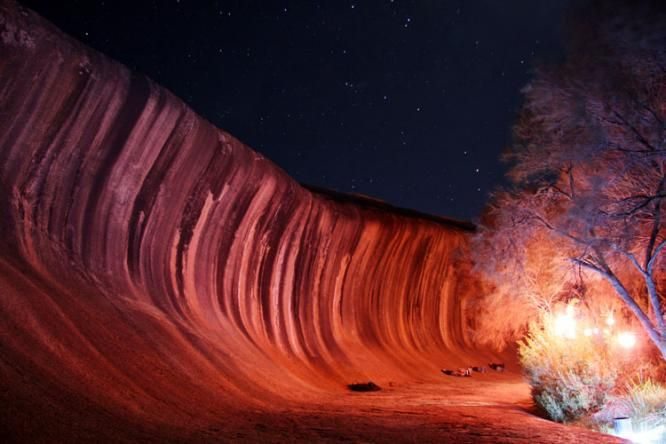 Wave Rock Australia at night -- Vacation Time!