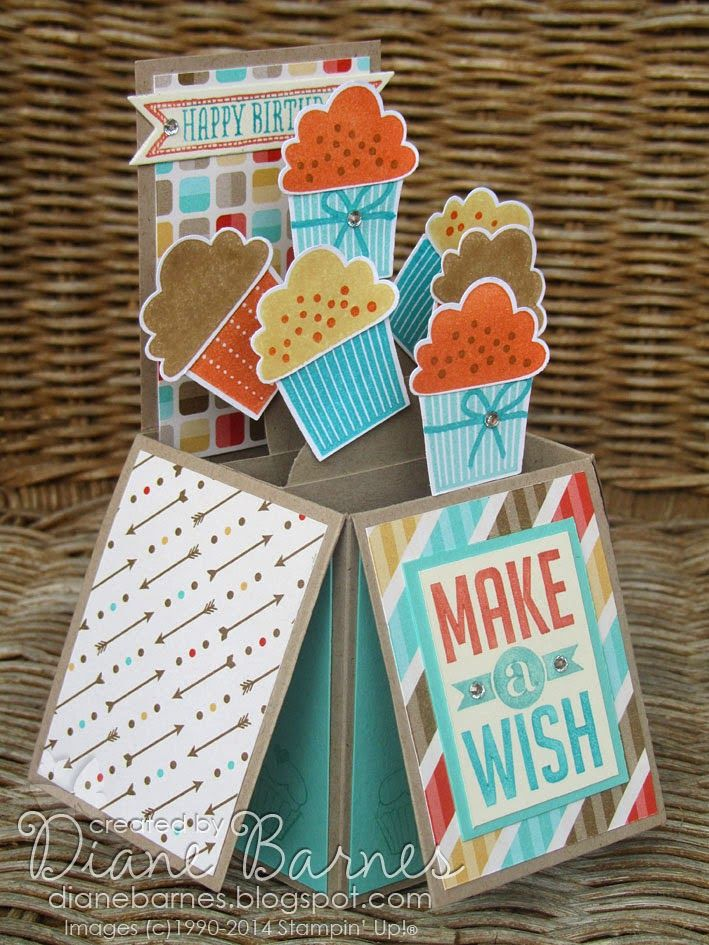 Stampin Up Create a Cupcake pop up card in a box & template.(3-24-14)