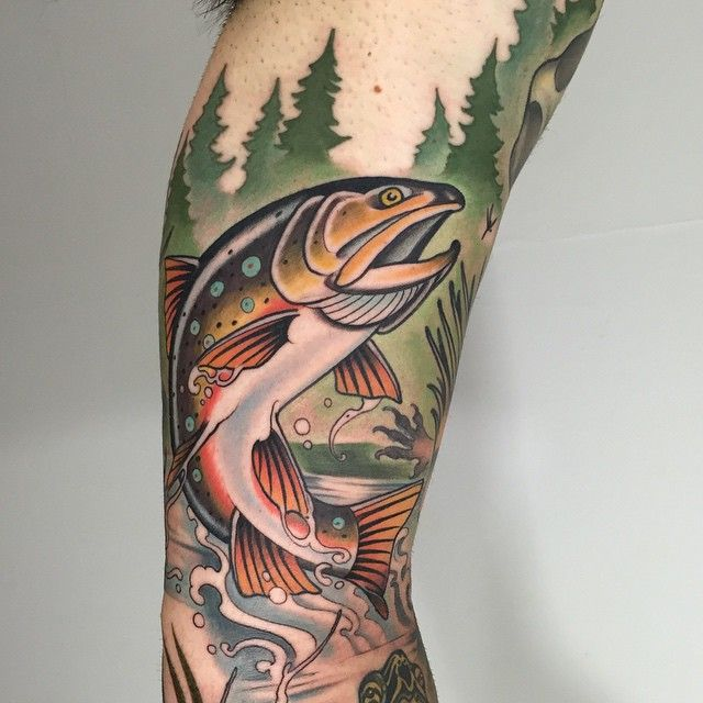 Another chunk of a full nature/critter sleeve. One more session to tie it all together. #trout #fish #tattoo #critter #sleeve #puremichigan #marquette #michigan #eternalink