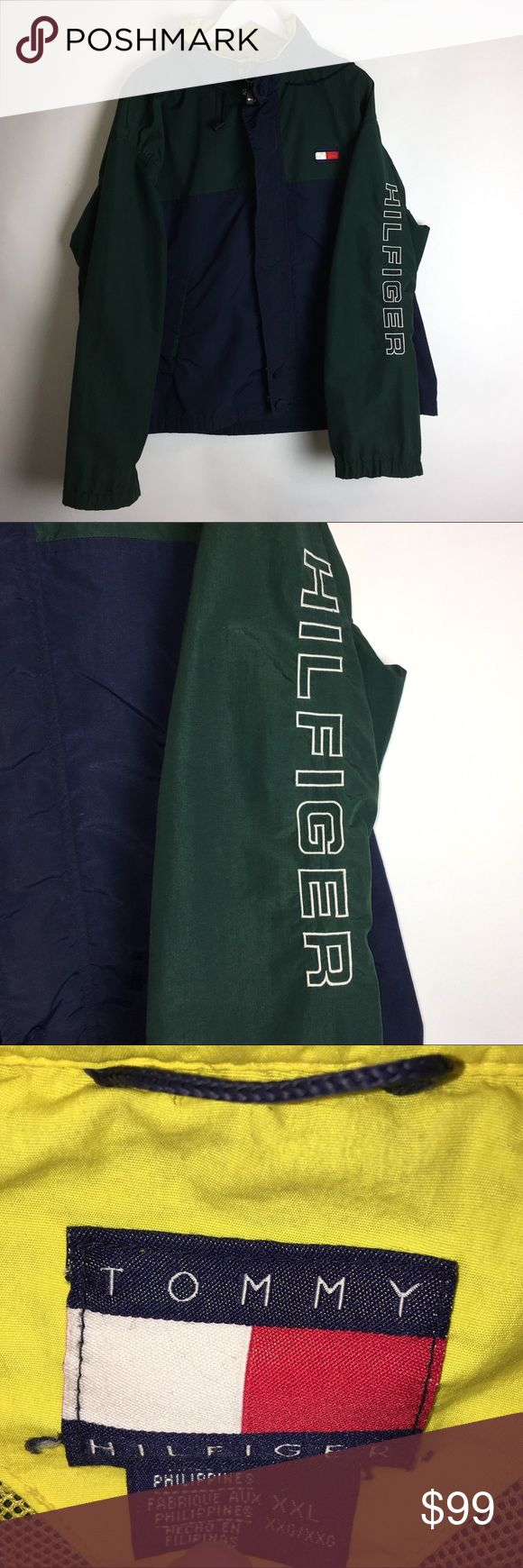 Vintage Tommy Hilfiger Men's Hoodie Jacket XXL ITEM DESCRIPTION Brand: Tommy Hilfiger Item name: Men's Vintage Spell Out Hoodie ZiP Up jacket   Color: Multi-Color Condition: This is a pre-owned item. It is in in excellent used condition with no stains, rips, holes, etc. Comes from a smoke free household. Size: Men's XXL Measurements: Pit to Pit - 28 1/2 inches Shoulder to bottom - 26 inches Tommy Hilfiger Jackets & Coats Windbreakers