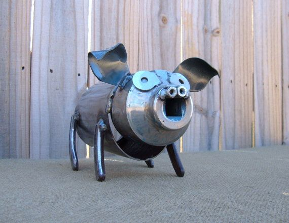 This Little Pig Iron Art Original Decorative by FrogLevelNaturals, $30.00