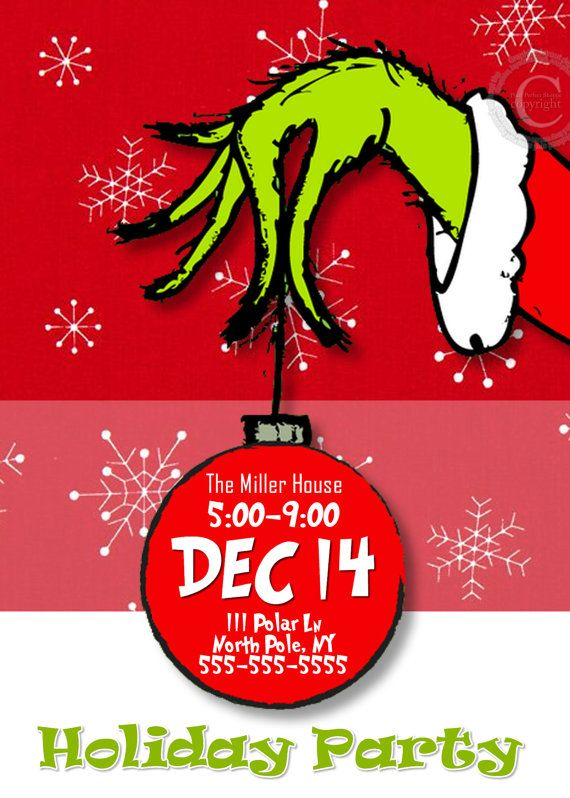 christmas party invitations grinch party by pixelperfectshoppe