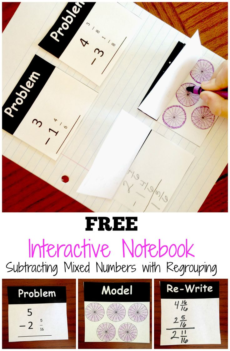 Interactive notebook to help you teach subtracting mixed numbers with regrouping.