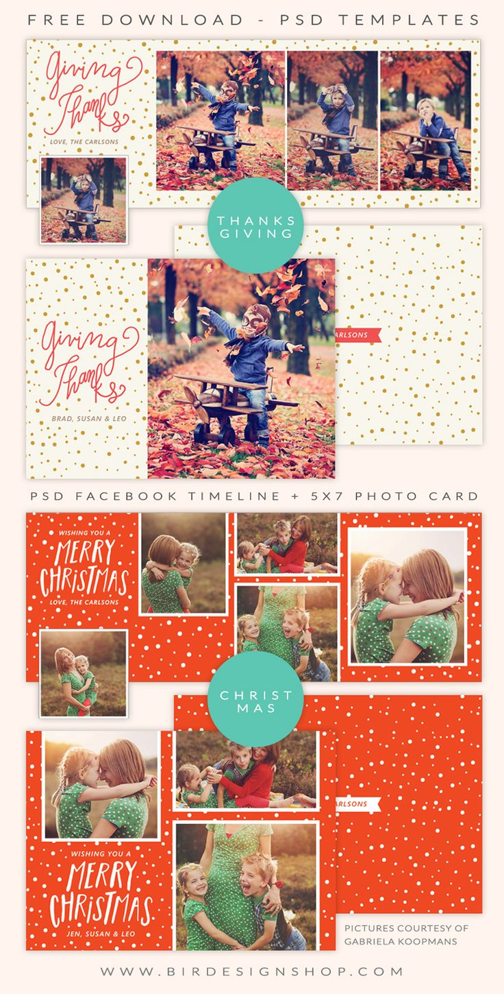 Free Facebook Timeline And Photo Cards For Christmas & Thanksgiving   Photoshop Templates For Photographers