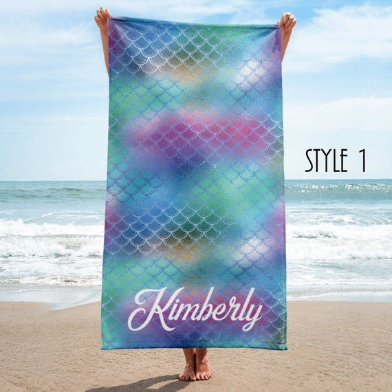 Embroidered Towels For Wedding Gift: Mermaid Personalized Beach Towel, Custom Bridesmaid Gift