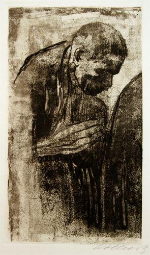 Kathe Kollwitz print: Der Trauernde (The Mourner). Etching and aquatint.