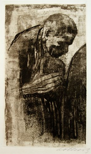 Kathe Kollwitz print: Der Trauernde (The Mourner). Etching and aquatint.