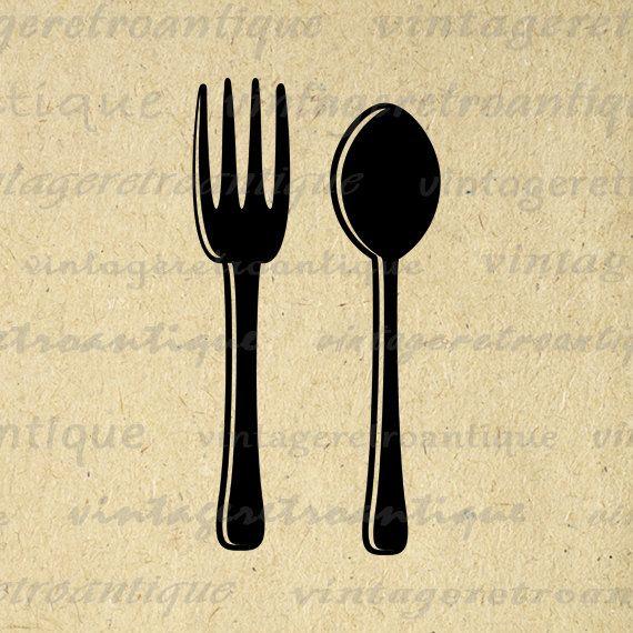 Printable Digital Fork and Spoon Silverware by VintageRetroAntique