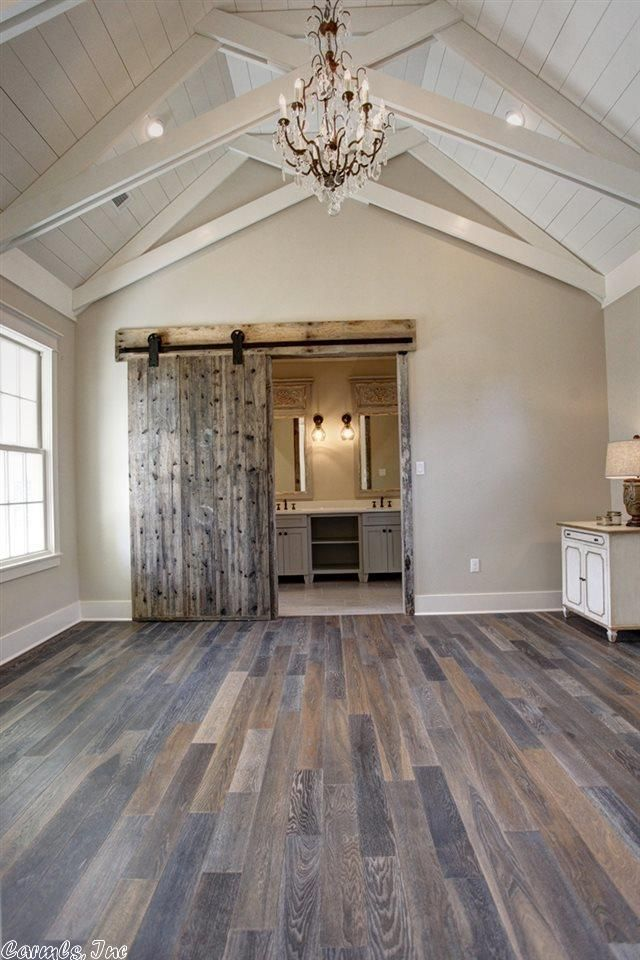 Master Bedroom Ceiling And Bathroom Barn Door Princeton