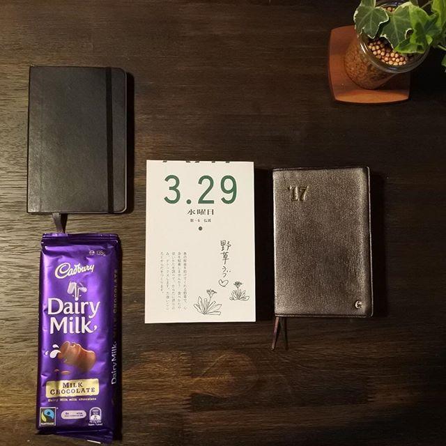30分ほど寝過ごしました💦  今週のしいたけ占いにあるように、それが凄く深い眠りだったことから週中だし疲れてるんだな…って気持ちの切り替えが早いです  おはようございます  私の好物#チョコレート  CALDIかアピタか近くの雑貨屋で買うことが多い輸入チョコの中で、この#デイリーミルク に出会った時は衝撃を受けました  贅沢にもこれをチョコチャンクスコーンに使うとスタバと並ぶか上回ります(笑)  #手帳 #能率手帳 #能率手帳ゴールド #モレスキン #コンシャスプランカレンダー