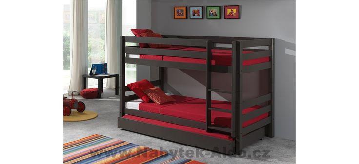Patrová postel z masivu Pino s přistýlkou PISBZG15