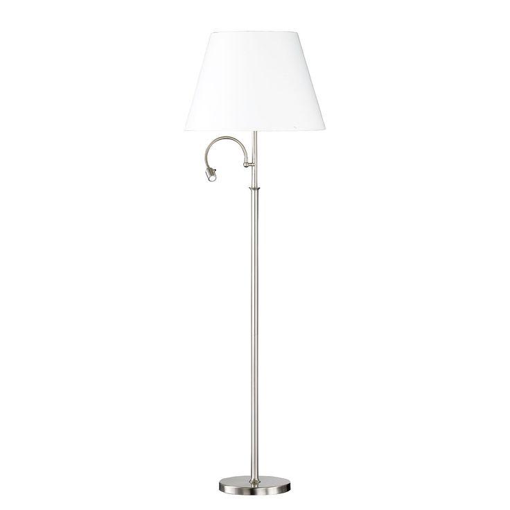EEK A+, LED-Stehleuchte List - Webstoff / Eisen - 4-flammig - Weiß / Chrom, Honsel Leuchten