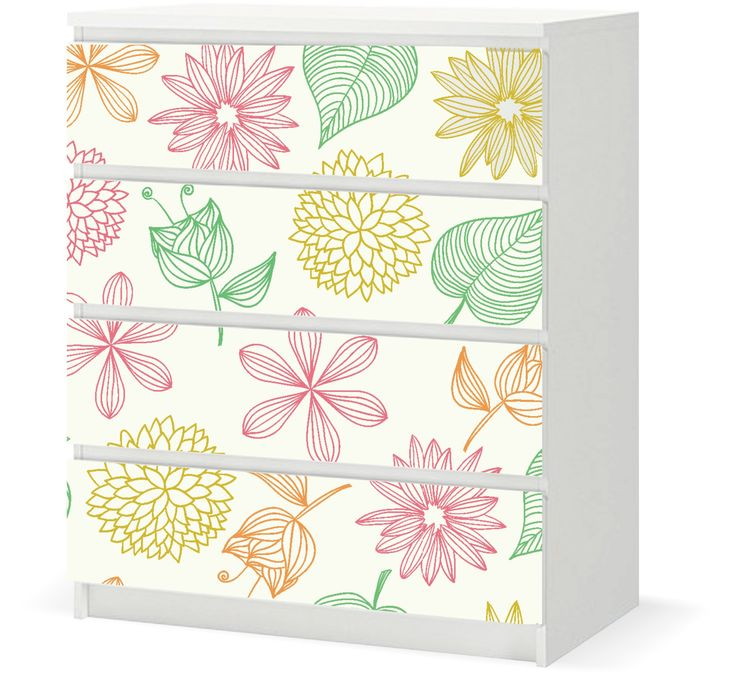 Floral vinyl sticker sized to fit ikea malm 4 drawers soft colorful flowers
