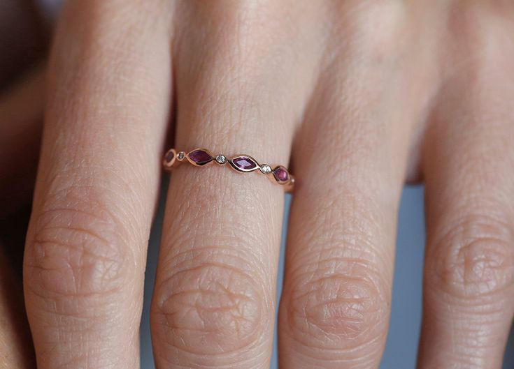 Ruby eternity Ring Ruby Eternity Band Marquise Ruby by capucinne, $760.00