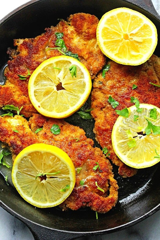 Breaded Chicken Piccata...bread crumb crusted chicken gets paired with a classic lemon wine sauce for a new take on Chicken Piccata