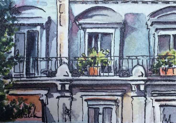 Paris window watercolour and ink painting by Christy Obalek.  ACEO size (trading card): 2.5x3.5""