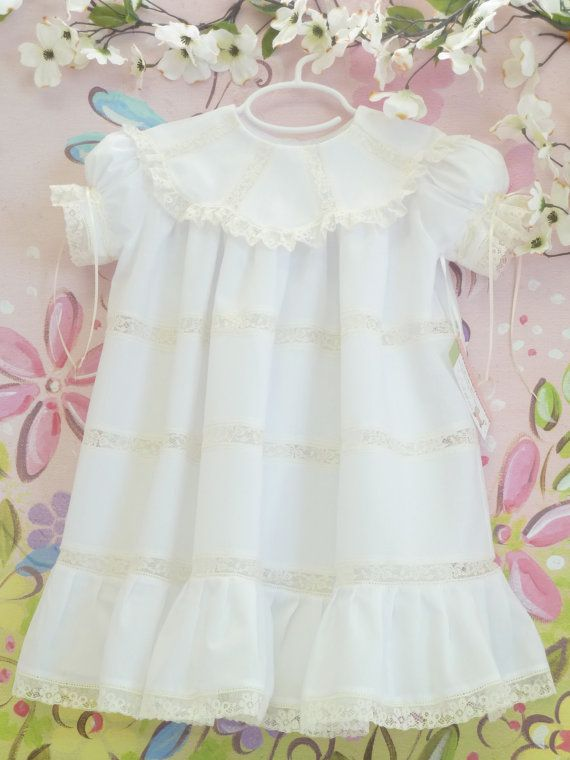 White and Ecru Heirloom Girls Dress And Slip Sizes 1