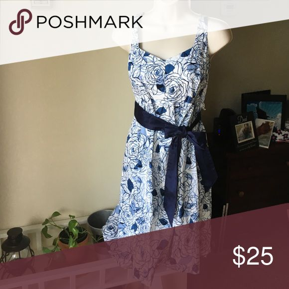 Maternity dress Blue and white floral dress. Worn once for a bridal shower. New condition. Motherhood Maternity Dresses