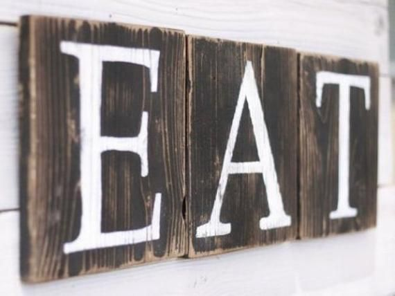 Eat Sign Blocks Country Kitchen Home Decor Farmhouse Pantry Restaurant Coffee Shop Dining Rustic Reclaimed Wood Gift For Her Country Kitchen Country Kitchen Designs Eat Sign