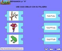 MATERIALES - Juegos LIM de lectoescritura: r  Se trata de juegos hechos con el editor de actividades EdiLim para trabajar la lectoescritura de manera divertida. Cada juego trabaja una letra y encontraremos actividades como: unir imagen con palabra, juego de memoria, ordenar sílabas y ordenar palabras para formar frases.  Descomprimid la carpeta JOC_EDILIM_R.zip y pulsad dos veces sobre el archivo repasamos_la_r.html.