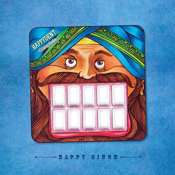 Excelente packaging da marca indiana de pastilhas elásticas Happydent Complete.