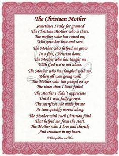 Christian Mothers Day Poems | Christian Mother poem is for the sweet Christian mother. Poem may be ...