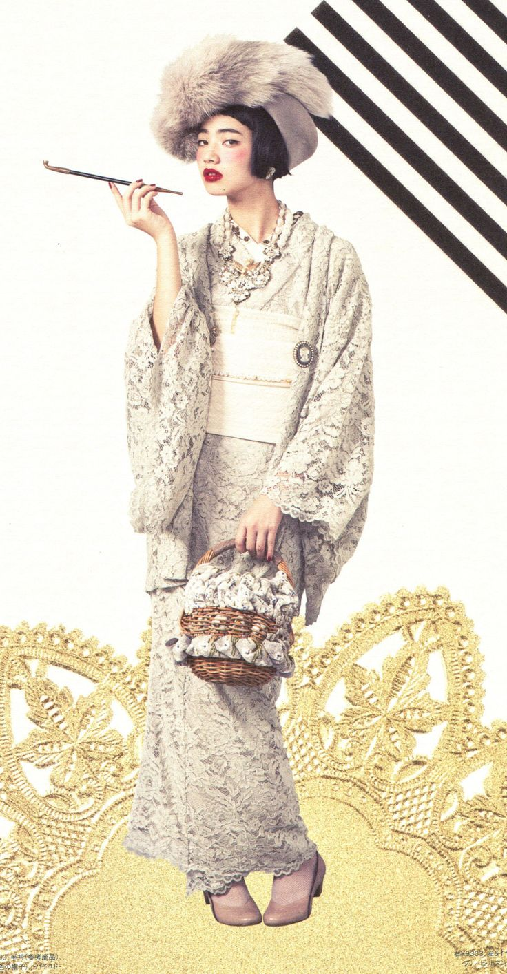Or go totally nouveau in a kimono made of some alt fabric like lace. Even more radical – make it all one color!