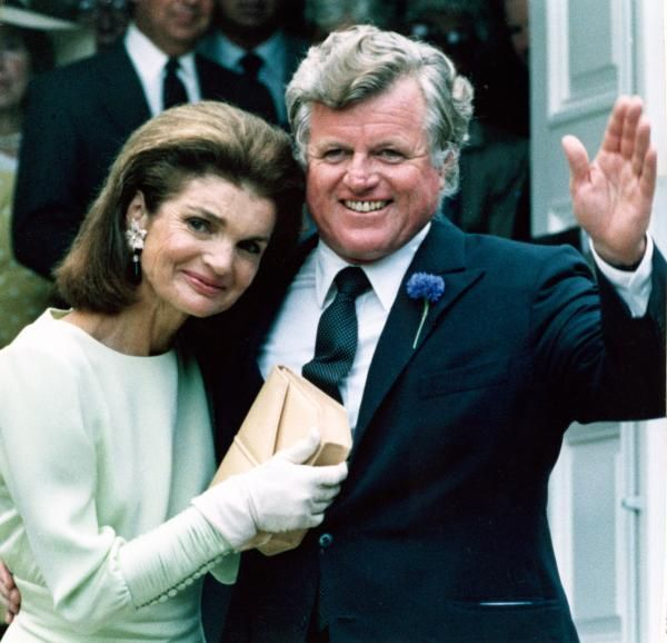 Jackie Onassis & Ted Kennedy attend Caroline Kennedy's wedding to Edward Schlossberg. One of the few times Mrs. Onassis allowed the general public a glimpse into her private feelings.