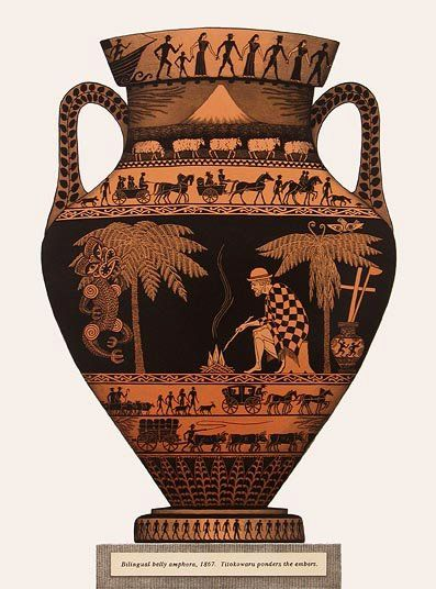 Bilingual Belly Amphora, 1867, Titokowaru Ponders the Embers, lithograph by Marian Maguire