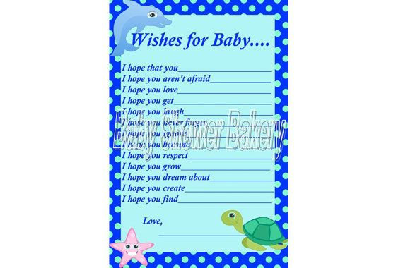 Under the Sea Baby Shower Game Wishes for Baby by BabyShowerBakery, $5.50