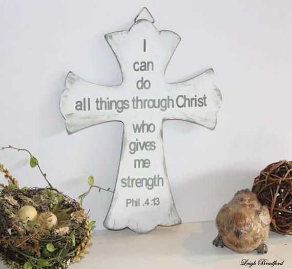 Scripture Wall Art Philippians 4 13 Cross Wood Sign Wooden Women