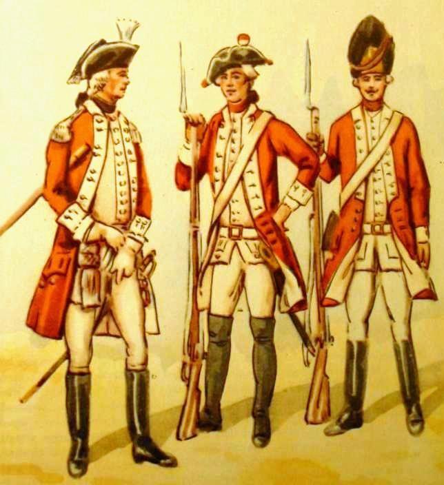 Crown Prince Foot Regiment - from left: junior officer, musketeer 1775, grenadier. Fig. B. Gembarzewski.