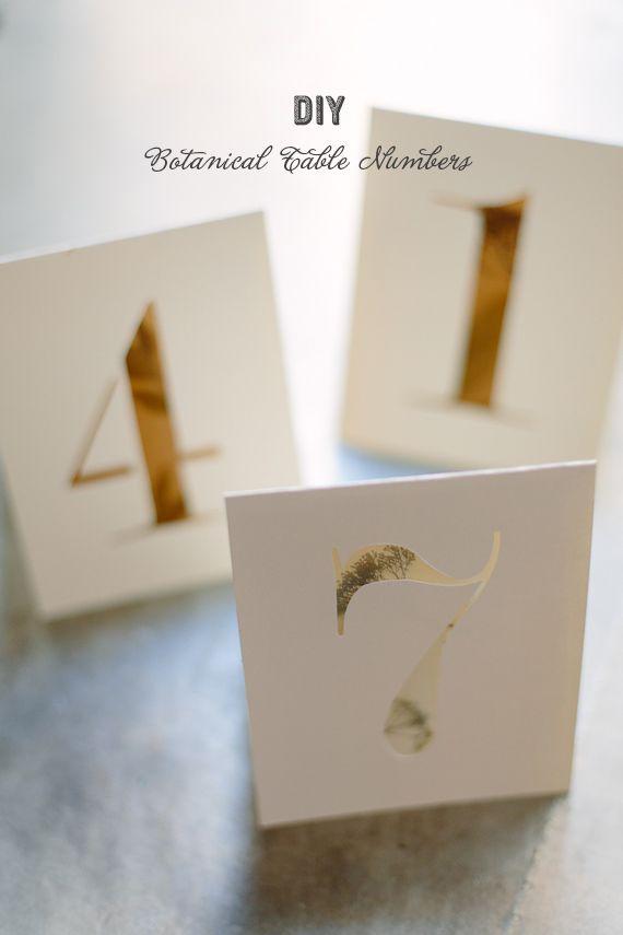 DIY botanical table numbers