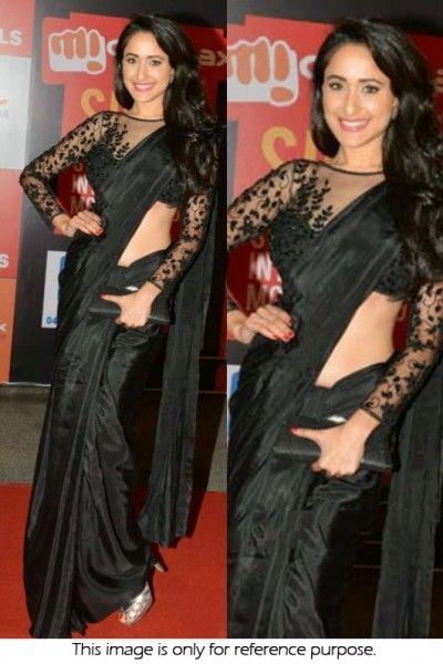 Bollywood Style Pragya Jaiswal Satin Silk Designer Saree In Black Colour NC1341