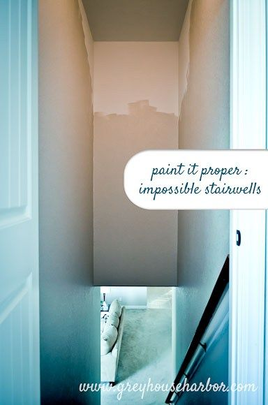 The painting continues! When Handsome and I got to the stairwells, we were a little perplexed. Even with his 6'3″ height and an extension pole, how on earth do you cut in and finish spa…