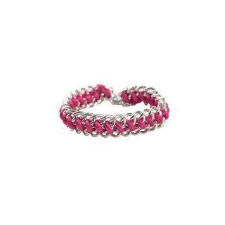 Gliederarmband silber pink