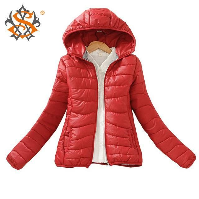 Solid Color Mid-Season Hooded Women's Jacket