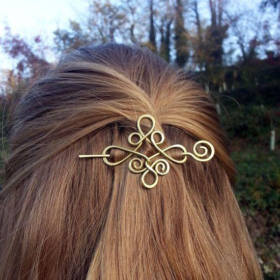 FERMACAPELLI celtici oro capelli clip ottone capelli titolare nodo celtico metallo capelli pin Boho capelli barrette per Womens regalo per lei