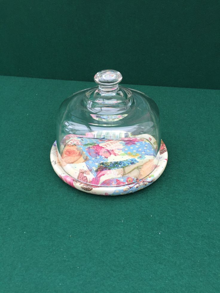 Patchwork Food plate with dome by Peppershells Vintage